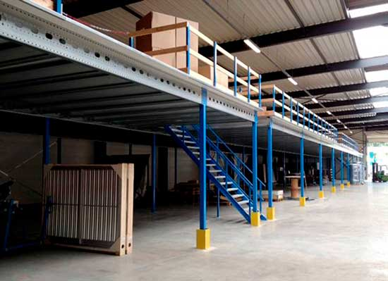 Mezzanine floors can double and even triple surface area, increasing the  usable surface in height by one or two levels inside a warehouse.