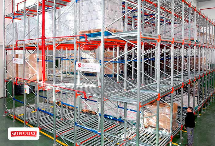 AR Racking equips the Mueloliva warehouse combining live pallet racking and conventional racking systems