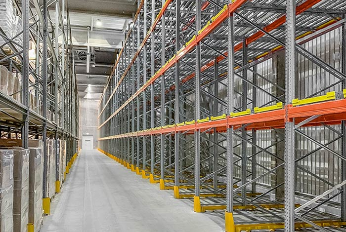 Push-back Racking for the Nordfrost's cold storage warehouse
