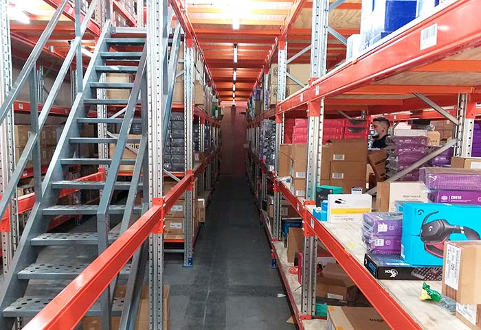 Multi-tier racking system allows SP Digital to gain warehouse space